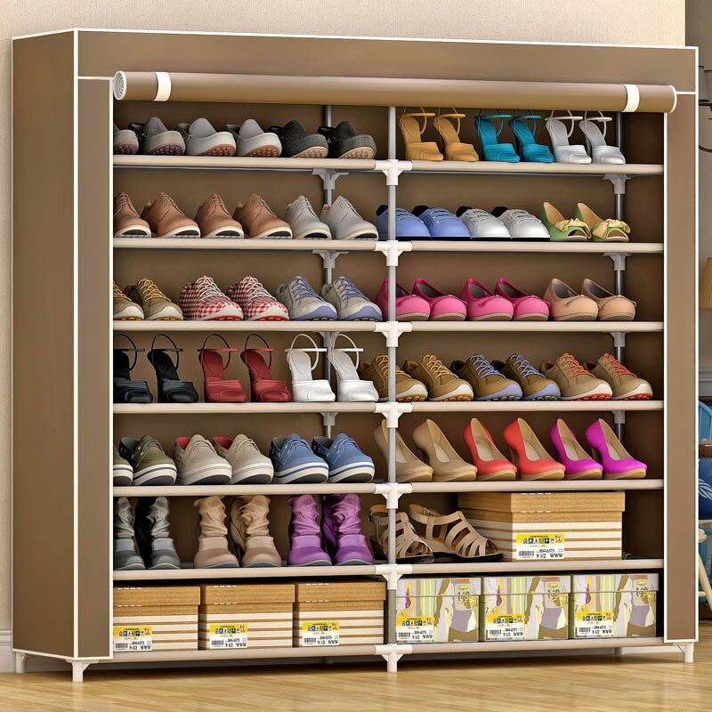 7 Layer 14 Grid Non Woven Fabrics Large Shoe Rack Organizer Removable