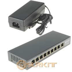 DSLRKIT 48V 120W 9 Ports 8 PoE Injector Power Over Ethernet Switch 4,5/7,8- for IP camera/Wireless AP/CCTV camera system