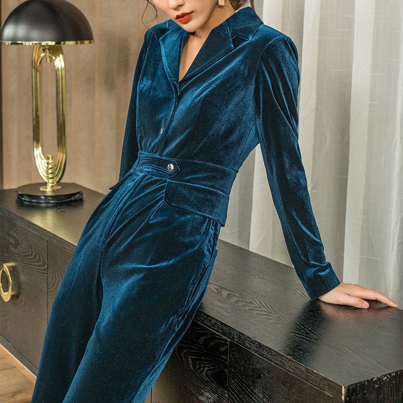 Gold Velvet Jumpsuit Women's Spring And Autumn 2019 New High Waist Temperament Slim Wide-leg Pants Suit Harajuku Trousers Women