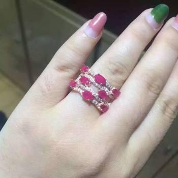 Модный Роскошный большой ряд, геометрическое кольцо из натурального красного рубина, натуральный драгоценный камень, кольцо из серебра S925