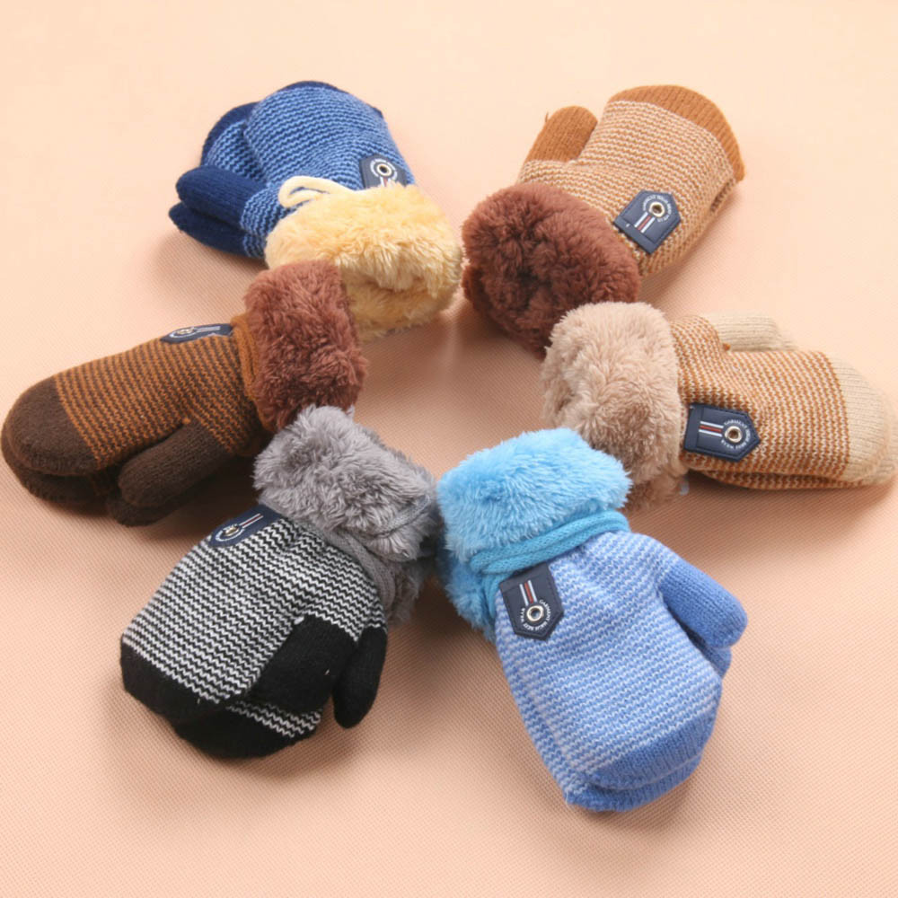 MUQGEW Winter Warm Baby Gloves Hot full fingers Infant Girls Boys Thicken knitting mittens Rope connection Kids baby gloves