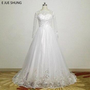 E JUE SHUNG White Shinny Lace Appliques Cheap Wedding Dresses 2018 Long Sleeves Ball Gown Bridal Dress robe de mariee brautkleid