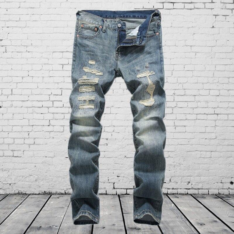 Comfortable Jeans Men Ripped Slim Fit Denim Pants High Quality DSEL Brand Clothing Cotton Moto Men`s Patch Jeans 29-38 E8001 patch jeans ripped trousers male slim straight denim blue jeans men high quality famous brand men s jeans dsel plus size 5704
