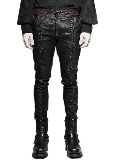 Steampunk Winter Men Stretch Tight Leather Pants Black ...