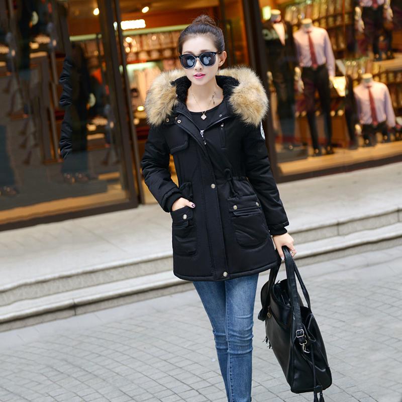 Adjustable Waist Women Parkas Big Pockets Fur Hooded Long Coats Female Outwear Cotton Warm Winter Ladies Jackets Coat MDEW541 7
