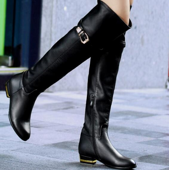 Women Winter Genuine Leather Low Heel Round Toe Buckle Fashion Over The Knee Boots Plus Size 33-45 SXQ1007 women winter genuine leather low heel rivets pointed toe side zipper fashion over the knee boots plus size 33 43 sxq1013