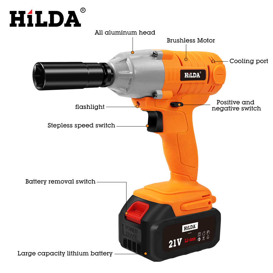 HILDA 21V Cordless Impact Electric Wrench Brushless Socket Wrench Power Tools 5