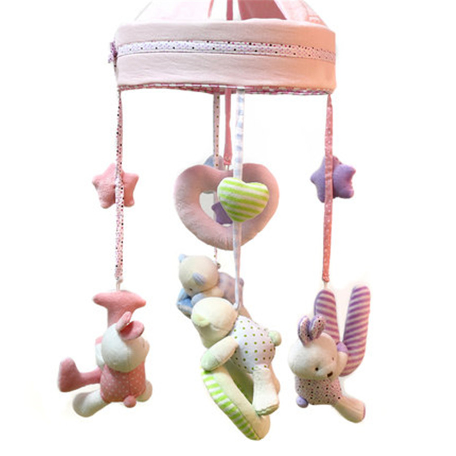 Baby bed mobile - Musical Toy Baby Bed Wind Bell Mobility Months Plush Animal Rabbit Miniature Dolls Mamas And Papas