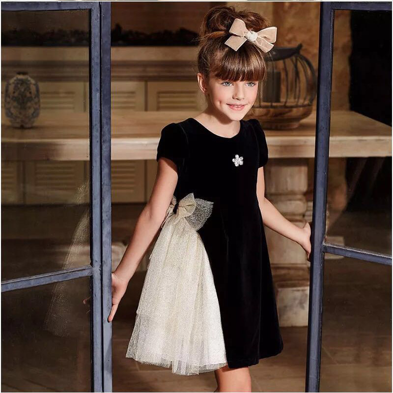 glowworm kid's spring baby Girl's Princess dress velvet bubble dress birthday christmas party dress big lace bows hs024 christmas faux fur fitted velvet short party dress with hat