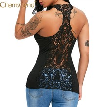 Free Shipping Women Sexy Lace Trim Racerback Slim Fit Hollow Out Tank Top Vest Shirt 80504 Drop Shipping(China)