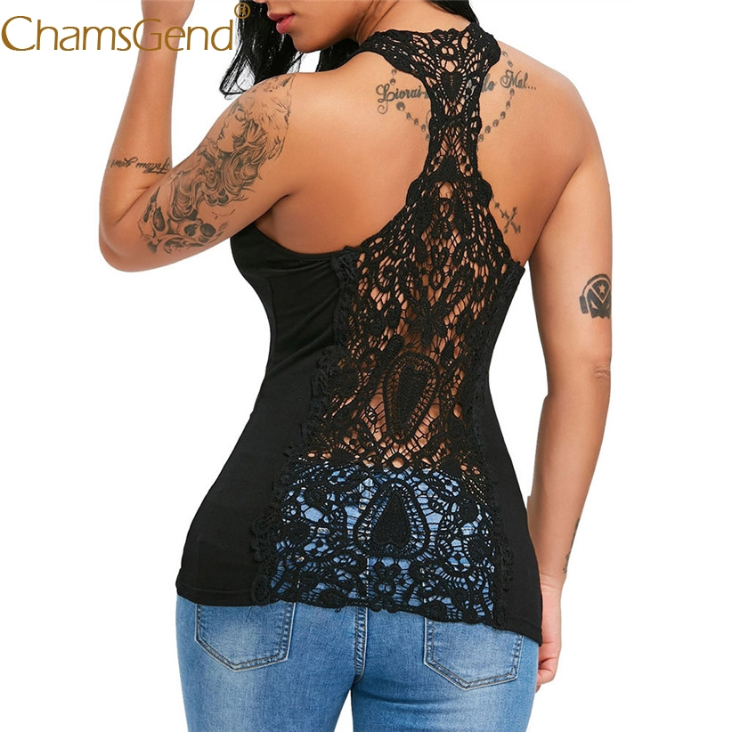 Free Shipping Women Sexy Lace Trim Racerback Slim Fit Hollow Out   Tank     Top   Vest Shirt 80504 Drop Shipping