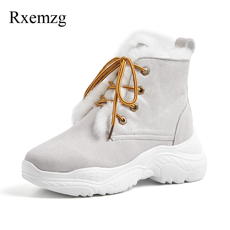 Rxemzg winter boots women 2019 fashion round toe sheepskin fur boots genuine leather ankle boots for