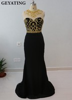 Bling Black And Gold Beading Prom Dresses Mermaid 2018 Cheap Crystal Elegant Women Sheer Back Formal Long Evening Party Gowns