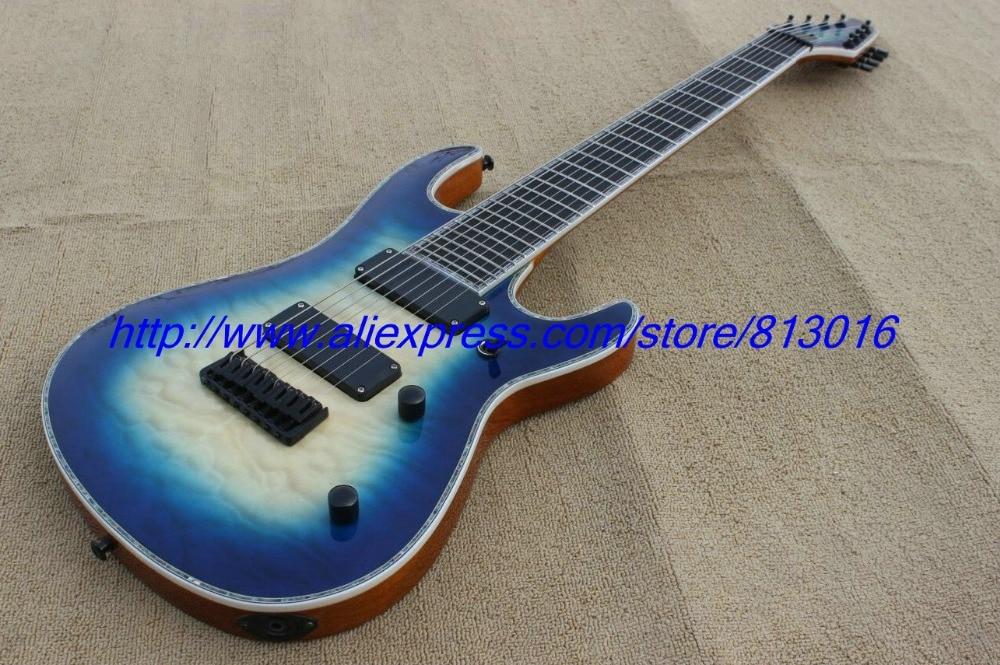 Chaud! Guitare électrique personnalisée 8 cordes mer bleu rafale, véritable reliure d'ormeau. Fermer les micros de couverture, dessus de corps de flamme de couette!