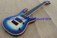 Hot ! customised electric guitar 8 string sea blue burst,real abalone binding . close cover pickups, quilt flame body top !