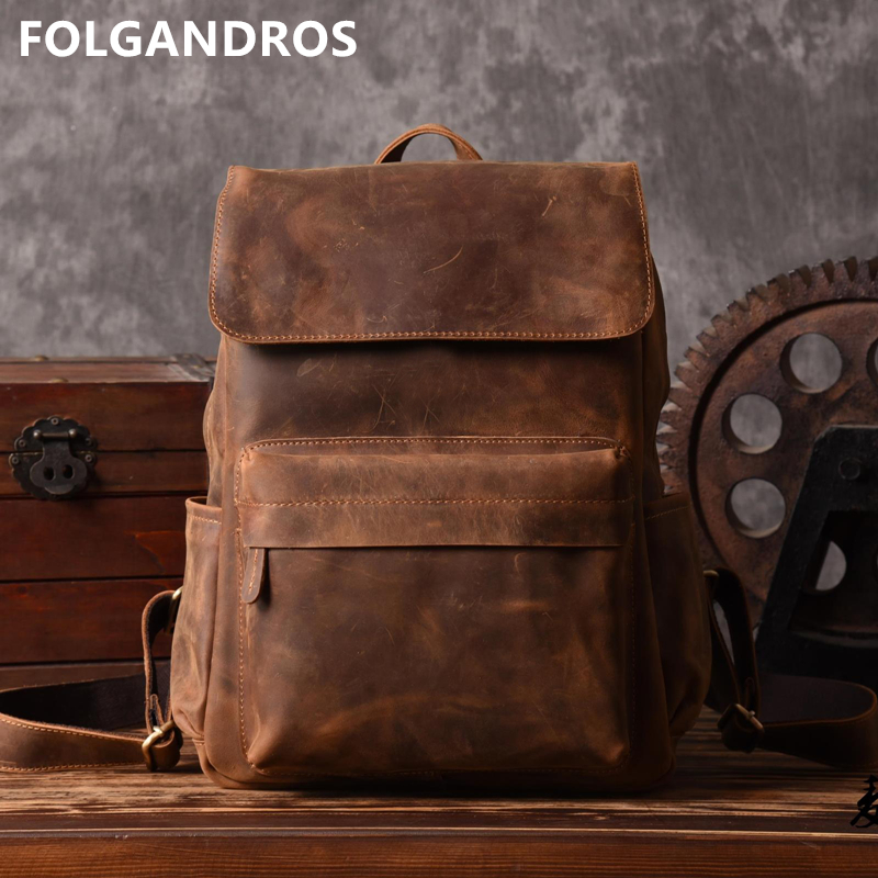 Brand Designer Men Genuine Leather Backpack Crazy Horse Vintage Daypack Multi Pocket Casual Rucksack Vintage Handmade Tote Bolsa pocket