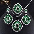 Verde Escuro do vintage Conjuntos De Jóias de Cristal de Prata Esterlina Criado Esmeralda Colar Brincos E Anel Set Para Mulheres Presente T260