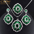Vintage Dark Green Crystal Jewelry Sets Sterling Silver Created Emerald Necklace Earrings And Ring Set For Women Gift T260