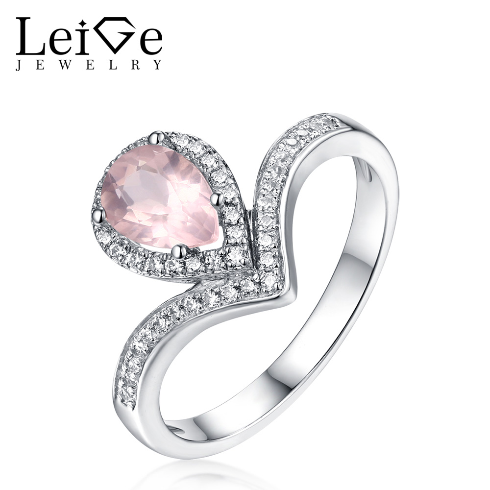 Leige Jewelry Natural Pink Quartz Ring Pear Cut Gemstone 925 Sterling Silver Engagement Rings for Women Christmas Gift
