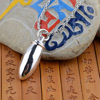 Gawu Box Pendant S925 sterling silver silver wholesale Buddhist evil Shurangama mantra bullet shape can be opened