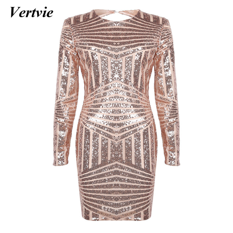 Sexy 2018 Women Dress Sexy Open Back Pad Shoulder Elastic Sequins Bodycon 2018 New Spring Summer Long Sleeves Dresses Swimsuit