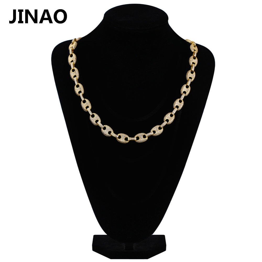 Здесь продается  JINAO 12mm Iced Out Cubic Zircon Hip Hop Link Chains Necklace Copper Material Gold Color Necklace for Male Women 18inch 22inch  Ювелирные изделия и часы