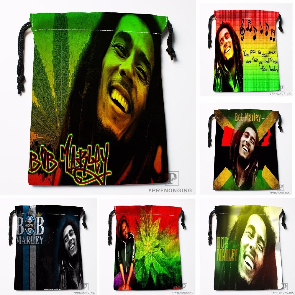 Custom Bob Marley Drawstring Bags Travel Storage Mini Pouch Swim Hiking Toy Bag Size 18x22cm#0412-03-45