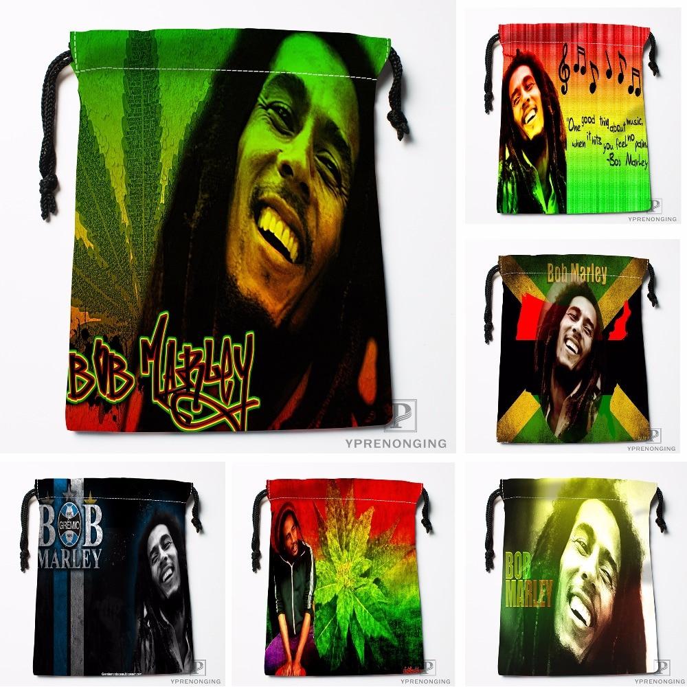 Custom Bob Marley Drawstring Bags Travel Storage Mini Pouch Swim Hiking Toy Bag Size 18x22cm#0412-03-45