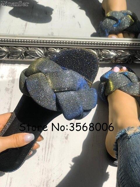 50bd2b825df9 Glitter Braided Design Flat Sandals Open Toe Shinny Rhinestone Embellished Women  Slippers Summer Outside Slides Shoes Rome Style