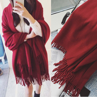 Scarf Women 230 80cm Warm Cashmere Winter Scarf Large Pure Color Shawl Vintage Wine Red Pashmina