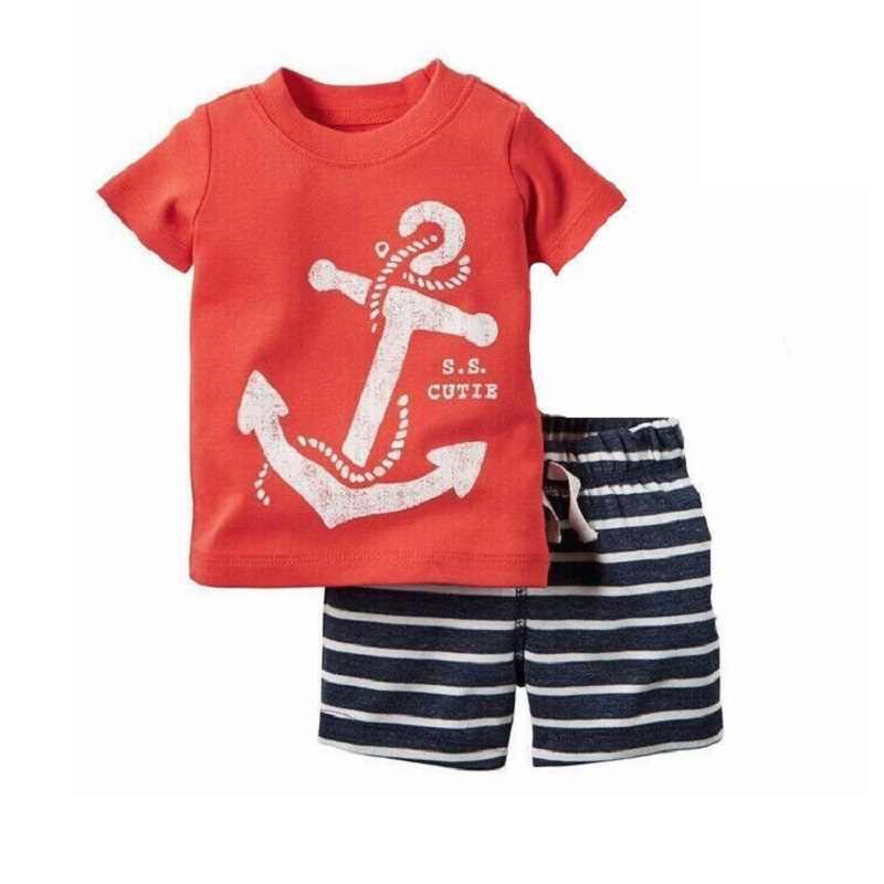 Sailor Baby Boy Kleding Pak Zomer Tee Shirts + Korte Broek 2 Pc Sets Schattige Kapitein Anker Outfits Katoen Sets tops Jumpsuits