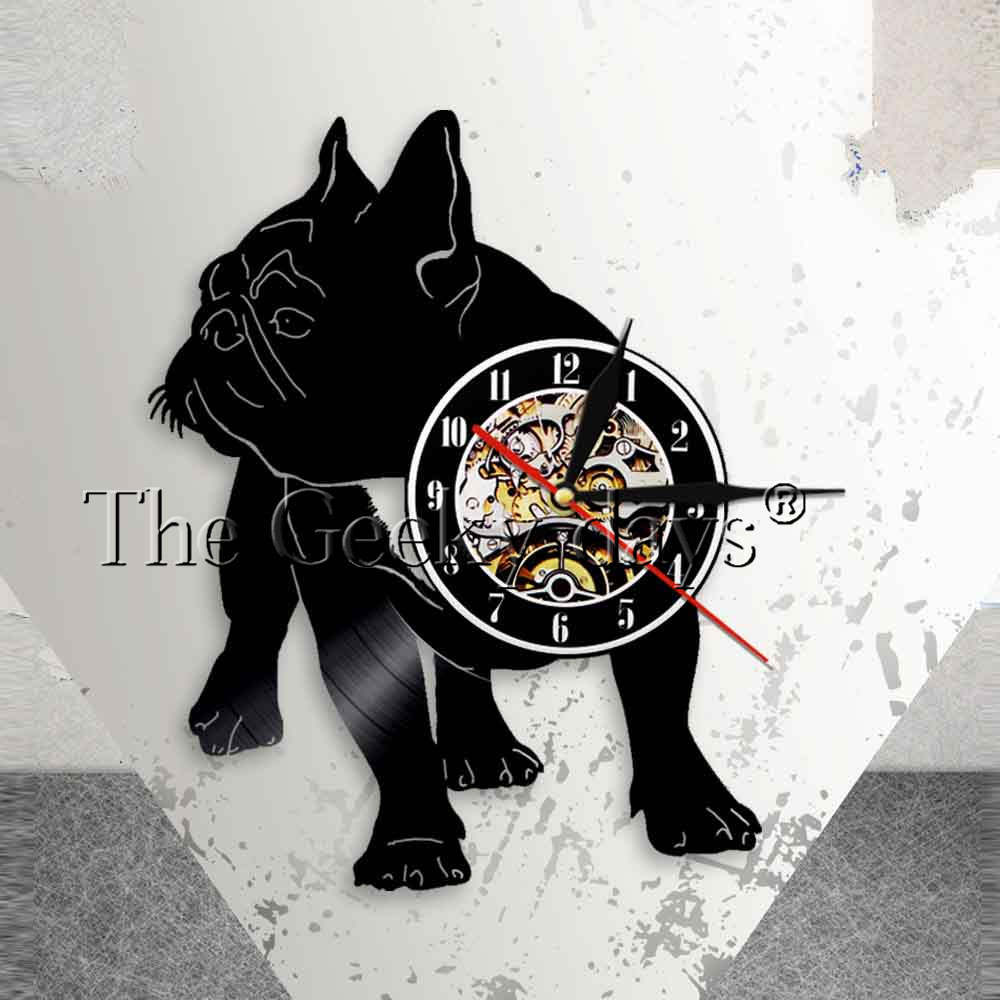 French Bulldog Silhouette Wall Art Wall Clock Frenchie Vinyl Record Wall Clock Dog Breed ...