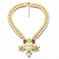 Luxury Jewelry 2014 Resin Zinc Alloy Best Seller Gorgeous Freshwater Pearl Chain Elegant Party Pendant Necklace