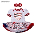Red Polka Dots Baby Girl Clothes 4th of July Toddler Party Outfits Infant Tutu Dress Bow Headband Set Robe De Bebe Kids Costumes