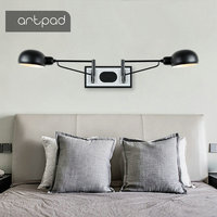 Artpad Industrial Wall Light Double Head Wall Lamp with Switch Folding Hotel Room Bedroom Living Room Reading Working Lamp