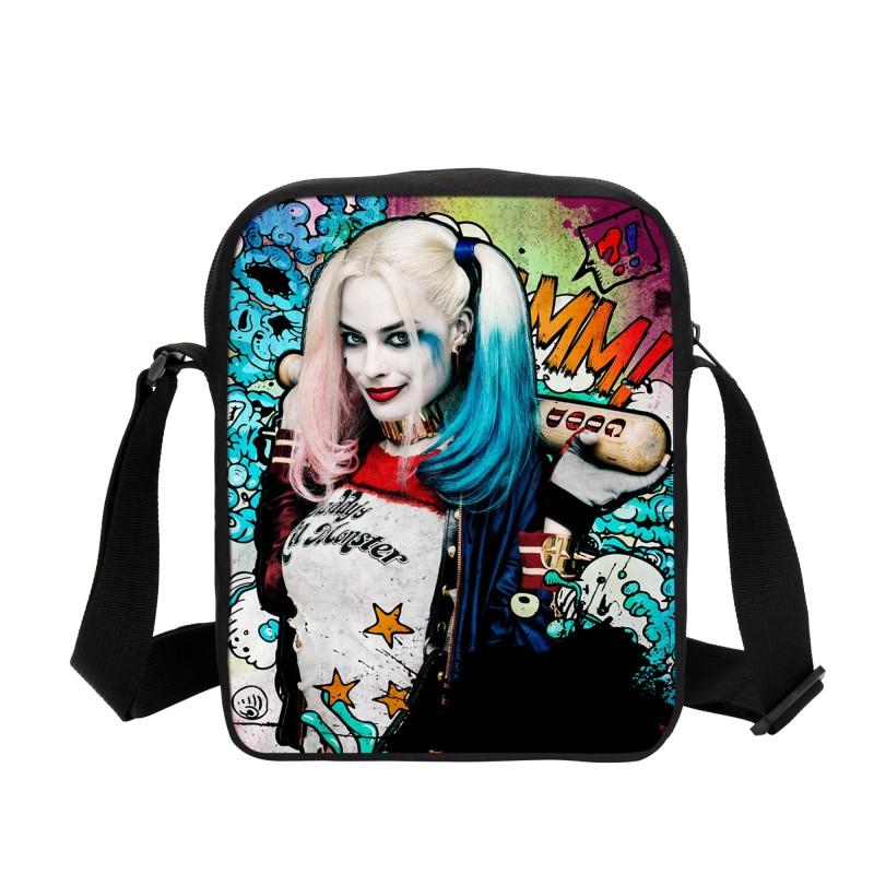 Hot Suicide Squad Messenger táskák diákoknak Harley Quinn iskolai táskák lányoknak Vicces Joker nyomdai hátizsákok gyermekek Mochila