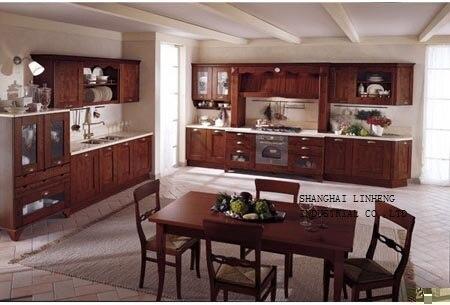 Modulaire en bois massif armoires de cuisine (LH-SW034)