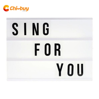 CHIBUY A4 size 3 line LED cinema light box Battery and DC round port Energized mode Cinematic Lightbox DIY letter light box