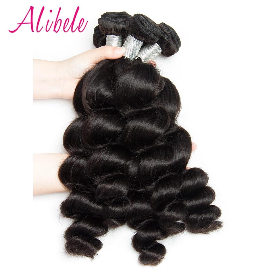 Alibele Brazilian Loose Wave 4 Bundles Deal 400g 100 Human Hair Weave Bundles Natural Color 1b