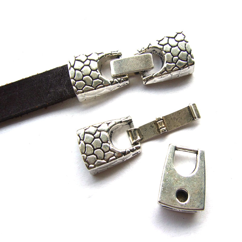 5sets Flat Snake Skin Snap Clasps For Bracelets 5mm 10mm Flat Leather Cord 10x2mm Findings