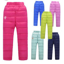 2016 Boys And Girls Casual Pant New Winter Childrens Clothing Kids Down Pants Baby Children Down Cotton Warm Coat 6 Color