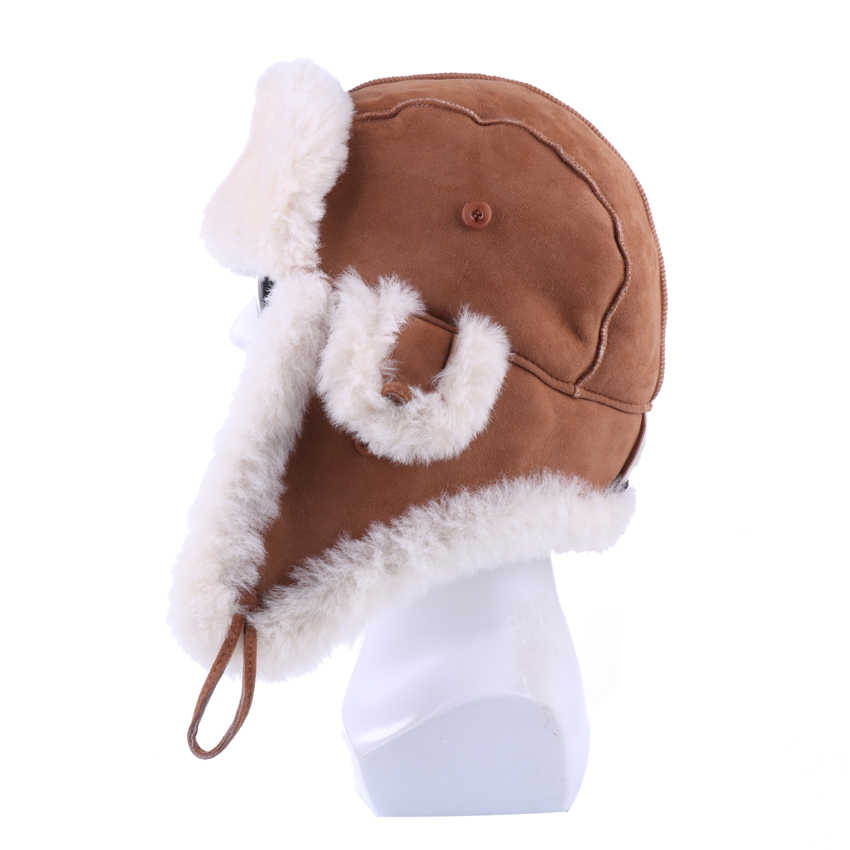 a02d18ed50705c ... Winter Bomber Hats Genuine Sheepskin Leather Russian Ushanka for Men  Women Natural Sheep Fur Warm Suede ...