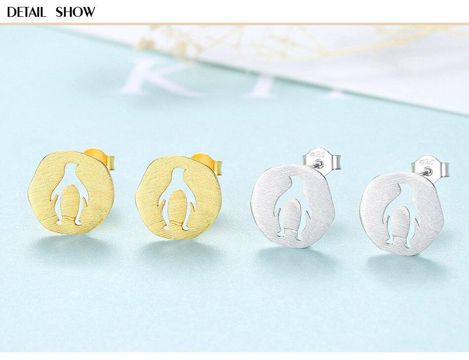 S925 Sterling Silver Stud Earrings Creative Simple Wild Penguin Stud Earrings MJB03