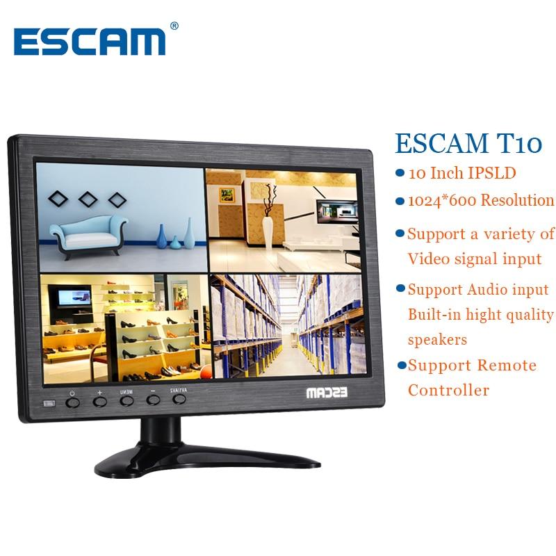 ESCAM T10 10 inch TFT LCD 1024x600 Monitor with VGA HDMI AV BNC USB for PC CCTV Security Camera escam 10 inch tft hd lcd monitor for security surveillance camera cctv monitor pc monitor pal ntsc system support audio input