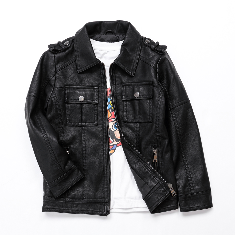 где купить Boys Faux Leather Jacket Kids Advanced PU Imitation Leather Coat Spring Fall Girls Jackets Casual Black Children Outerwear 3-12Y по лучшей цене