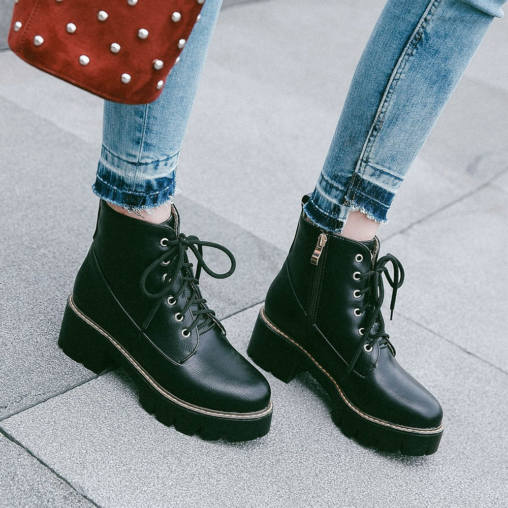 Plus Size Women Boots Pu Leather Thick Heel Ankle Boots Fashion Platform Zipper Spring Winter Ladies Shoes Black Brown Wine Red women boots plus size 35 43 genuine leather autumn winter ankle boots black wine red shoes woman brand fashion motorcycle boot