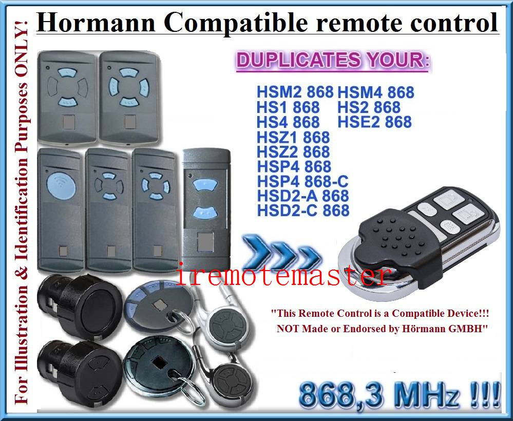 Best selling Hormann hsz2 ,hsp4 ,hsp4-c,hsd2-A ,hsd2-c 868MHZ universal remote control replacement transmitter hormann hs1 868 hs2 868 hs4 868mhz remote control replacement
