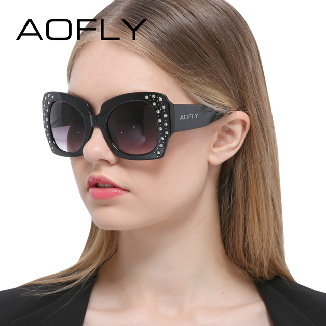 AOFLY Luxury Brand Sunglasses Women Jewelry Rhinestone Decoration Sun glasses oculos de sol feminino Square Style Vintage Shades
