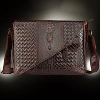 New Men S Genuine Leather Retro Business Bag Crocodile Pattern Briefcase Designer Oil Wax Cowhide Single