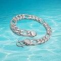 Men 's 925 cadena de eslabones de plata pulsera moda hombre la pulsera de la joyería para hombre de 8 pulgadas 10 mm